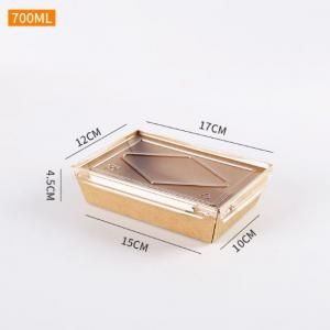 700ml Kraft Paper Bento Box with PP Lid Food & Catering Packaging FTF1027
