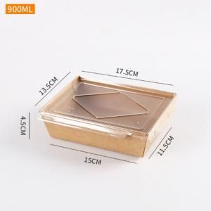 900ml Kraft Paper Bento Box with PP Lid Food & Catering Packaging FTF1028