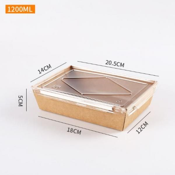1200ml Kraft Paper Bento Box with PP Lid Food & Catering Packaging FTF1029