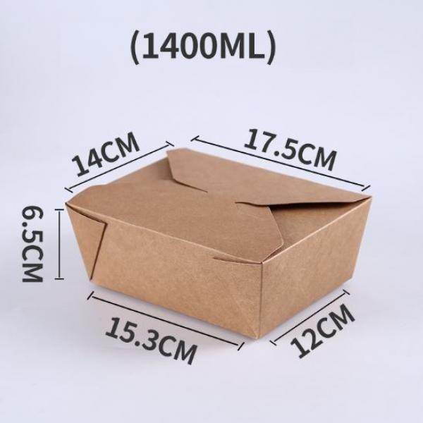 1400ml Kraft Paper Take Away Square Box Food & Catering Packaging FTF1031