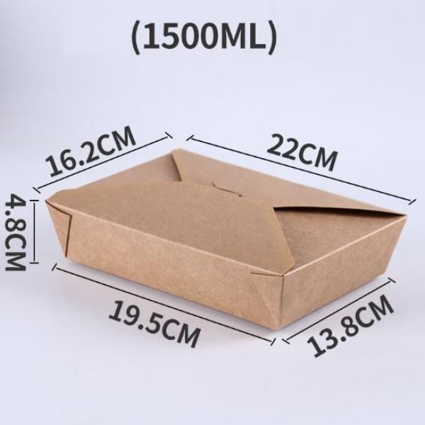 1500ml Kraft Paper Take Away Square Box Food & Catering Packaging FTF1032