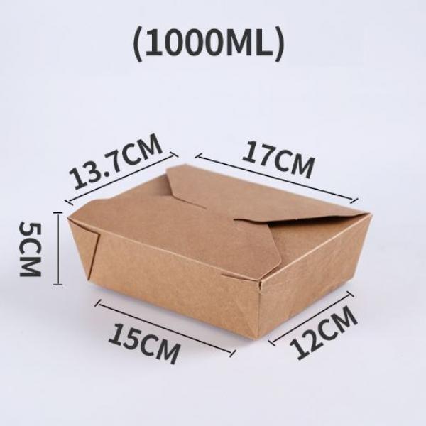 1000ml Kraft Paper Take Away Square Box Food & Catering Packaging FTF1030-1
