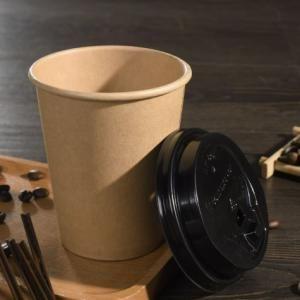 Single Wall Kraft Paper Coffee Cup Lid Food & Catering Packaging FUP1008