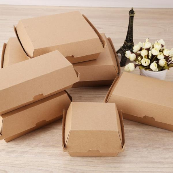 17x9.1x8.5cm Kraft Paper Burger or Sandwiches Box Food & Catering Packaging FTF1037-FTF1044