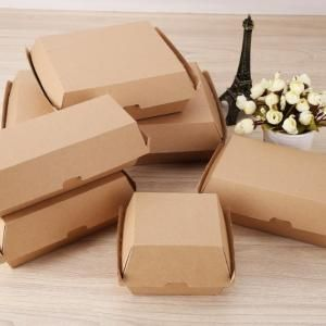 10.2x10.5x8cm Kraft Paper Burger or Sandwiches Box Food & Catering Packaging FTF1037-FTF1044