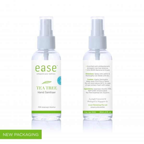 EASE 80ml Tea Tree Spray Sanitizer Personal Care Products KHO1004AxxelEaseProducts_80mlTeaTree