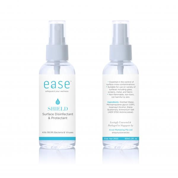 EASE 50ml Shield Disinfectant and Protectant Spray Personal Care Products AxxelEaseProducts_60ml_WhiteBaseShield