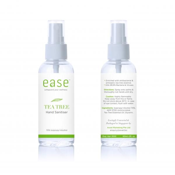 EASE 60ml Tea Tree Spray Sanitizer Personal Care Products AxxelEaseProducts_60ml_WhiteBaseTeaTree