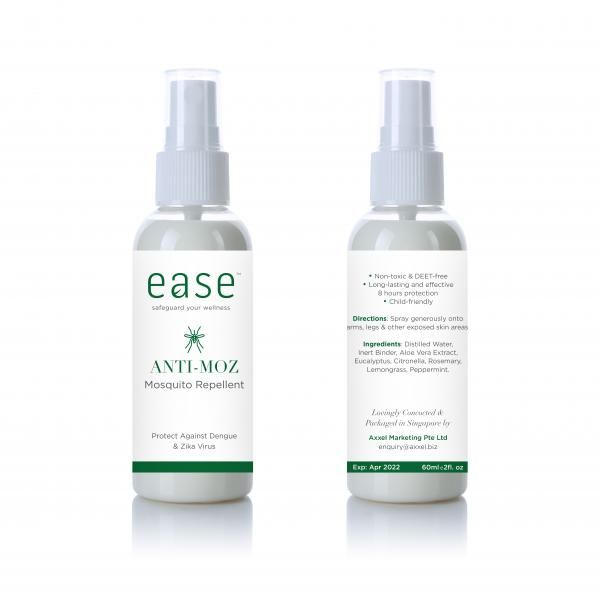 EASE 80ml Anti Mosquito Spray Personal Care Products Back To Work AxxelEaseProducts_60ml_WhiteBaseAnti-Moz