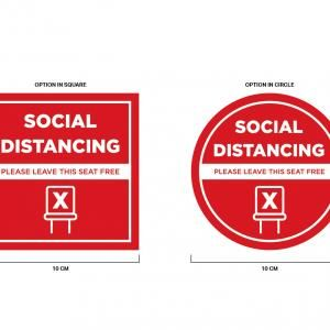 Social Distancing Seat Marking Sticker 10 x 10 cm Printing  Display & Signages Back To Work Personal Protective Equipment (PPE) Axxel_SocialDistancingSeatMarkingSticker-03-01