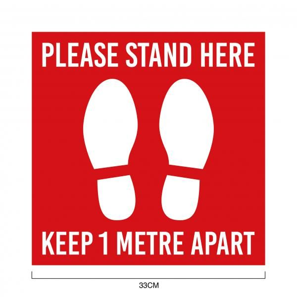 Social Distancing Floor Marking Sticker 33 x 33 cm Printing  Display & Signages Back To Work Personal Protective Equipment (PPE) Keep1MetreApartwithsize