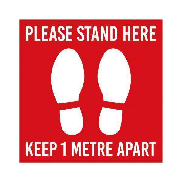 Social Distancing Floor Marking Sticker 33 x 33 cm Printing  Display & Signages Back To Work Personal Protective Equipment (PPE) Keep1MetreApartwithwhitebackground