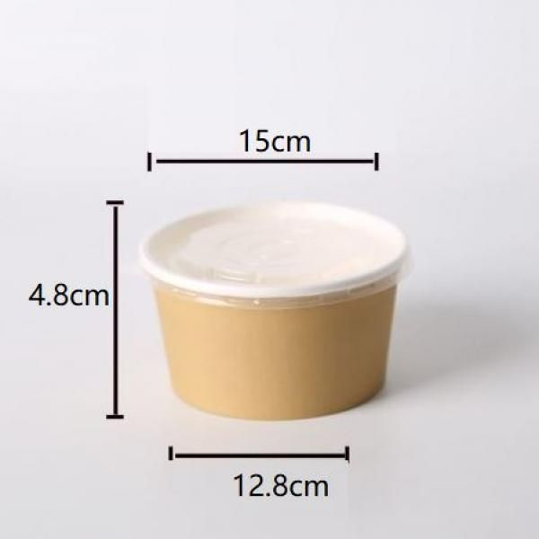 500ml Kraft Paper Bowl with PP Lid Food & Catering Packaging FTF1020
