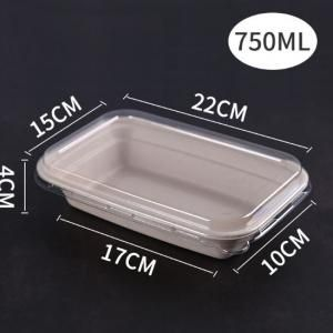 750ml Paper Pulp Rectangle Bento Box With PET Lid Food & Catering Packaging FTF1053
