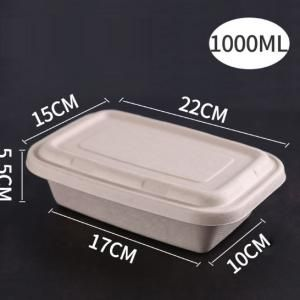 1000ml Paper Pulp Rectangle Bento Box Food & Catering Packaging FTF1054