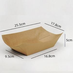 25.5x17.8x5cm Kraft Paper Tray Food & Catering Packaging FTY1002