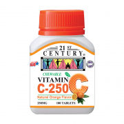 21st Century 100's  Vitamin C 250 mg Orange Chewable Food and Drink Supplies 3.BOTTLE-VitaminC250mgOrangechewable100sSHS1002
