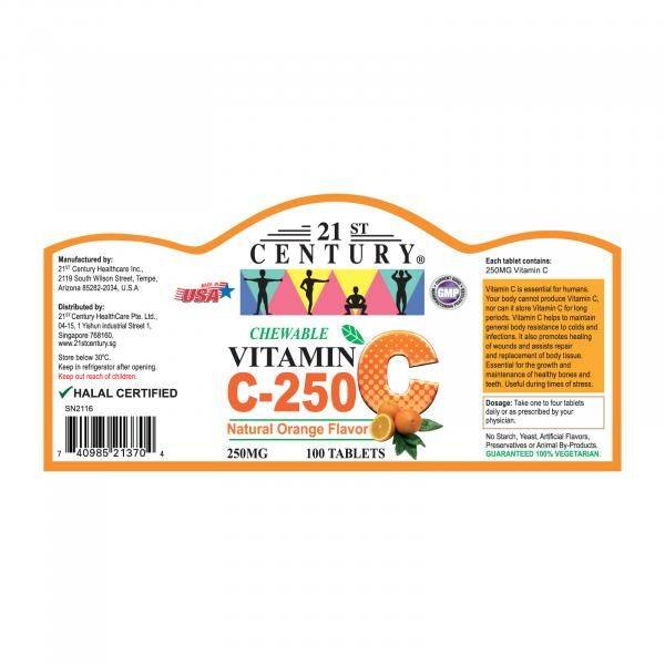 21st Century 100's  Vitamin C 250 mg Orange Chewable Food and Drink Supplies 3.LABEL-VitaminC250mgOrangechewable100sSHS1002