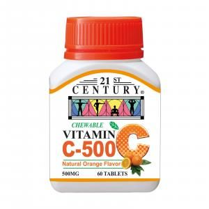 21st Century 60's Vitamin C 500 mg Orange Chewable Food and Drink Supplies 4.BOTTLE-VitaminC500mgOrangeChewable60sSHS1003