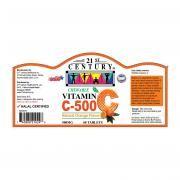 21st Century 60's Vitamin C 500 mg Orange Chewable Food and Drink Supplies 4.LABEL-VitaminC500mgOrangeChewable60sSHS1003