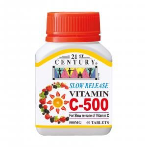 21st Century 60's Vitamin C 500 mg T/R Food and Drink Supplies 5.BOTTLE-VitaminC500mgSlowRelease60sSHS1004