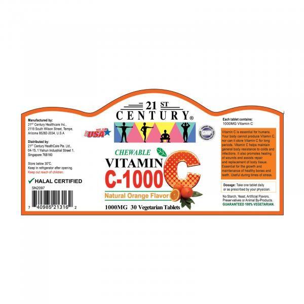21st Century 30's Vitamin C 1000 mg Orange Chewable Food and Drink Supplies 6.LABEL-VitaminC1000mgOrangeChewable30sSHS1005