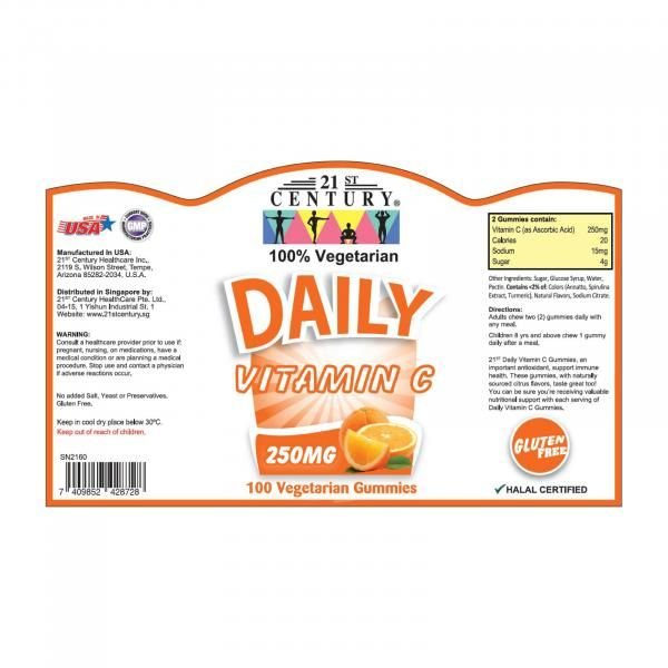 21st Century 100's Daily Vitamin C 250mg Gummies Food and Drink Supplies 8.LABEL-DailyC250mggummies100sSHS1007