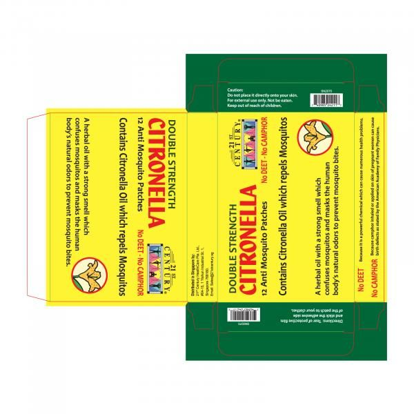 21st Century 12's Citronella Mosquito Patch Personal Care Products 11.LABEL-CitronellaMosquitoPatch12sSHS1010