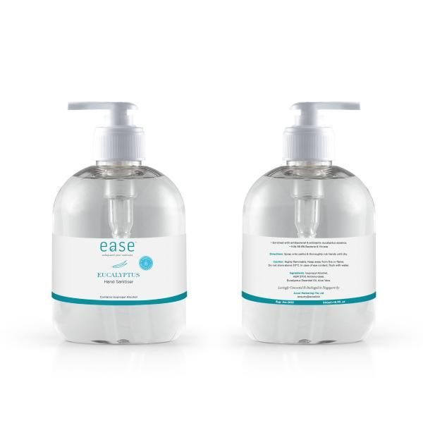 EASE 500ml Eucalyptus Pump Sanitizer With AEM Personal Care Products Personal Protective Equipment (PPE) KHO1113Axxel_EaseSanitizer500mlPumpBottleEucalyptusWithShieldOnIcon