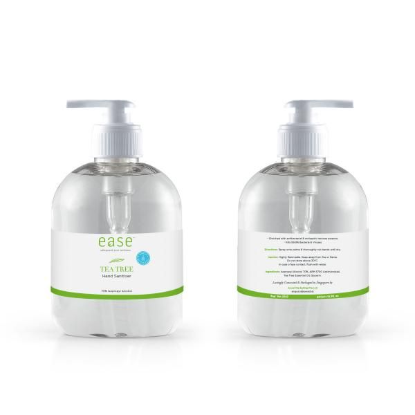 EASE 500ml Tea Tree Pump Sanitizer With AEM Personal Care Products Personal Protective Equipment (PPE) KHO1093Axxel_EaseSanitizer500mlPumpBottleTeaTreeWithShieldOnIcon
