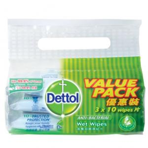 10's Dettol Anti Bacterial Wet Wipes Value Pack Personal Care Products kbf1006