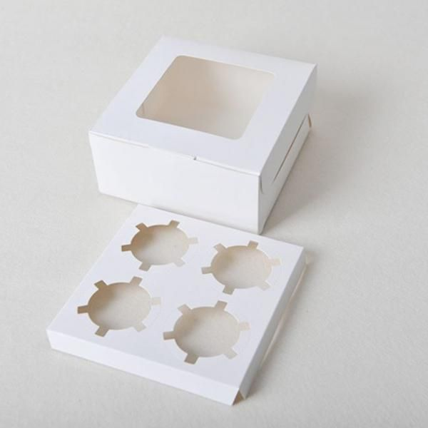 4pcs Cupcakes Box with Window Food & Catering Packaging FOF1007-1