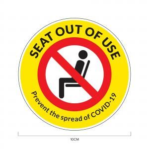 Seat Out of Use Social Distancing Sticker 10*10cm Printing  Display & Signages ZST1004YLW