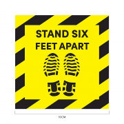 Stand 6ft Apart Social Distancing Sticker 10*10cm Printing  Display & Signages ZST1008YLW