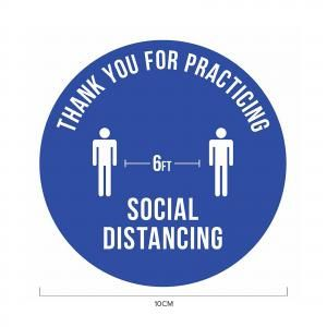 6ft Apart Social Distancing Sticker 10*10cm Printing  Display & Signages ZST1010BLU