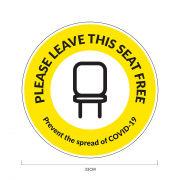 Seat Free Social Distancing Sticker 33*33cm Printing  Display & Signages COVID-19PleaseLeaveThisSeatFreeSeatSticker_33cm