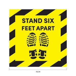 Stand 6ft Apart Social Distancing Sticker 15*15cm Printing  Display & Signages ZST1021YLW