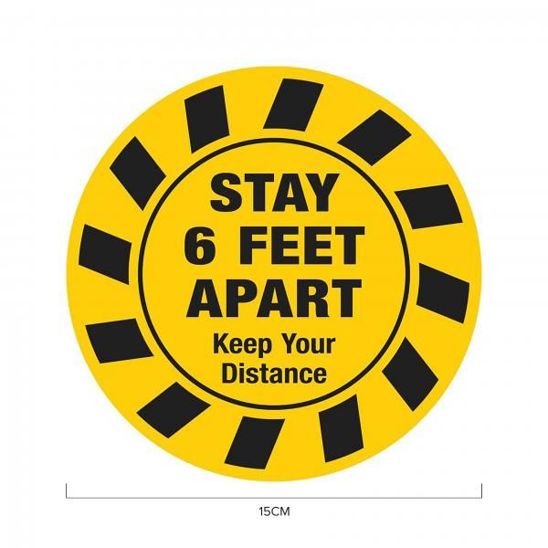 Stay 6ft Apart Social Distancing Sticker 15*15cm Printing  Display & Signages ZST1023YLW