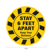 Stay 6ft Apart Social Distancing Sticker 33*33cm Printing  Display & Signages ZST1024YLW