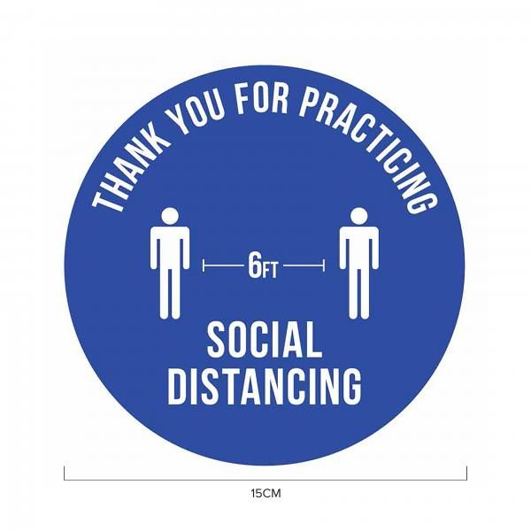 6ft Apart Social Distancing Sticker 15*15cm Printing  Display & Signages ZST1025BLU
