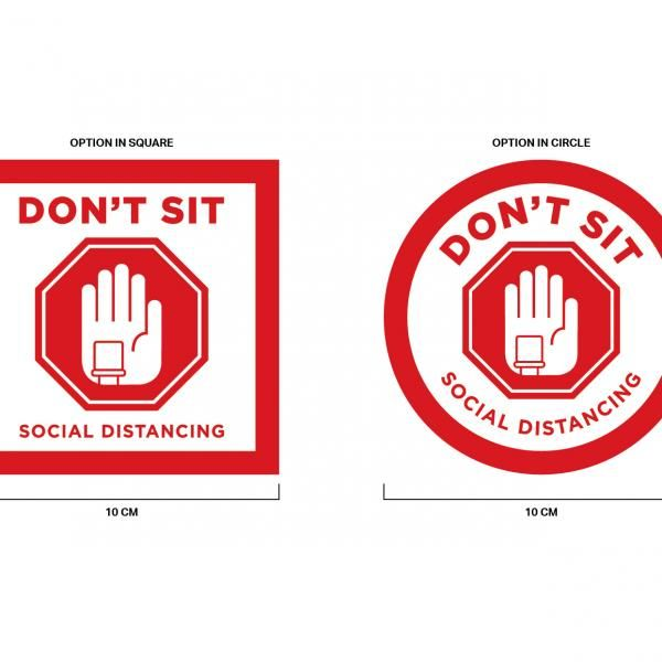 Social Distancing Seat Marking Sticker 10 x 10 cm Printing  Display & Signages Back To Work Personal Protective Equipment (PPE) Axxel_SocialDistancingSeatMarkingSticker_R1-02