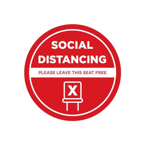 Social Distancing Seat Marking Sticker 10 x 10 cm Printing  Display & Signages Back To Work Personal Protective Equipment (PPE) Axxel_Social-Distancing-Seat-Marking-Sticker_1B