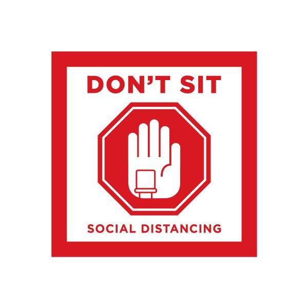 Social Distancing Seat Marking Sticker 10 x 10 cm Printing  Display & Signages Back To Work Personal Protective Equipment (PPE) Axxel_Social-Distancing-Seat-Marking-Sticker_2A