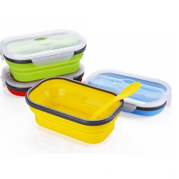 Collapsible Lunch Box 1 Compartment with Forkspoon Household Products Kitchenwares Earth Day HKL1018