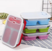 Collapsible Lunch Box 3 Compartment with Forkspoon Household Products Kitchenwares Eco Friendly HKL1020-1