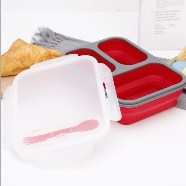 Collapsible Lunch Box 3 Compartment with Forkspoon Household Products Kitchenwares Eco Friendly HKL1020-2