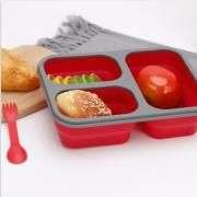 Collapsible Lunch Box 3 Compartment with Forkspoon Household Products Kitchenwares Eco Friendly HKL1020-3