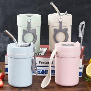 Wheatstraw Mug with Stainless Steel Straw Household Products Drinkwares Eco Friendly 4