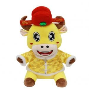 CNY Ox with Fortune Hat Plush Toy Recreation Festive Products Capture