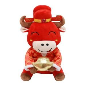 CNY Ox with Ingots Plush Toy Recreation Festive Products Capture